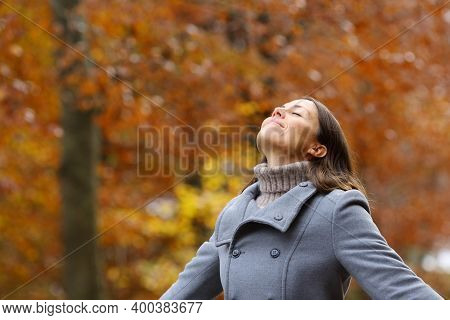Middle Age Female Wearing Grey Jacket Breathing Fresh Air Standing In A Forest In Fall Season