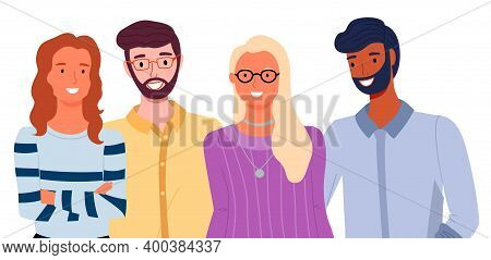 Group Of Fashion Cartoon Young People. Stylish Bearded Men And Pretty Women Standing Together On Whi