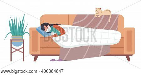 Female Character Having A Cold And Lying In Bed. Cat Owner Is Sick At Home On White Background. Girl