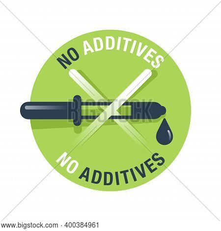 No Preservatives, Additives Or Dye Free Green Pictogram - Organic Food Sticker With Eyedropper - Vec