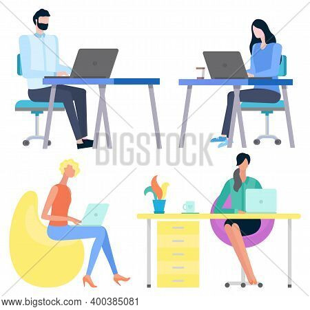 People Communication With Laptop, Employee And Workplace. Worker Character Using Computer At Desktop