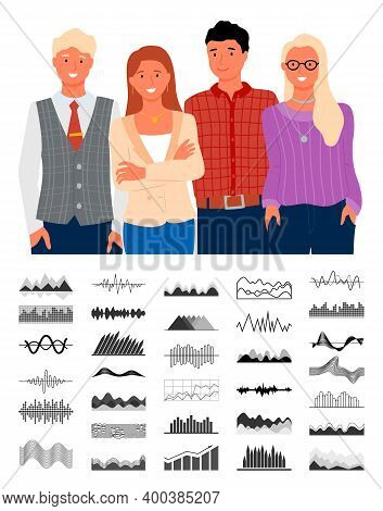 People With Infocharts And Data Vector, Business Analytics And Information In Visual Representation,