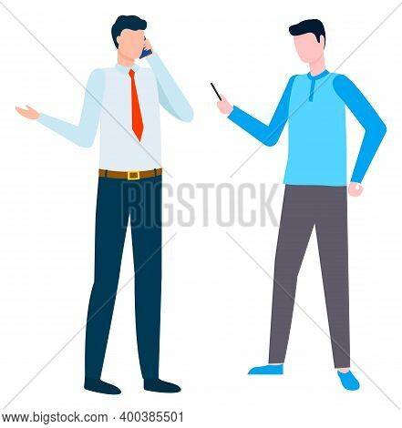 Man Talking On Phone Vector, Isolated Businessman Having Online Conference With Partner. Worker With
