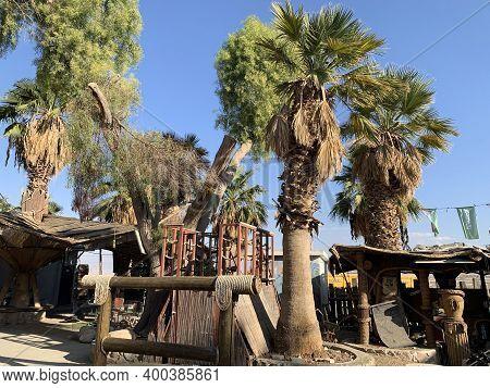 101 Kilometers, Israel - December 03, 2020: Oasis 101 Kilometers In The Arava Desert On The Road To