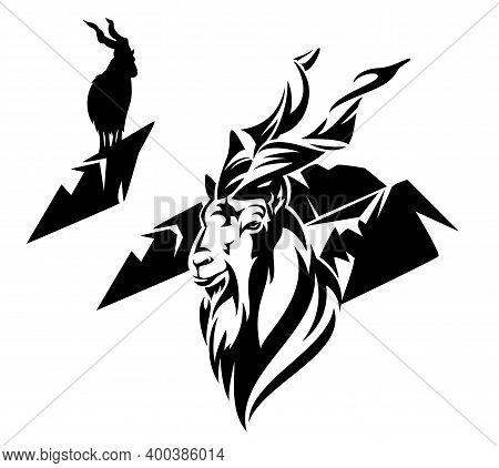 Markhor Goat (capra Falconeri) And Mountain Ridge Outline And Silhouette - Wild Animal Black And Whi