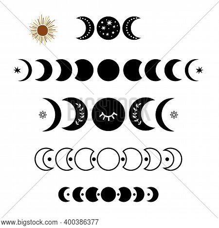 Black Moon Phase Logo Set. Boho Moon Symbol. Black Moon Cycle. Full Moon, Half Moon Isolated. Celest