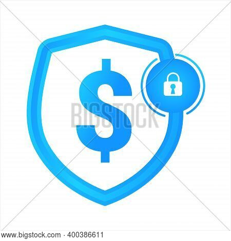 Blue Sign Of The Dollar Lock Shield. Concept Of Security. Isolated On White Background
