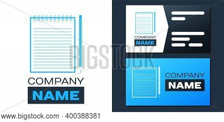 Logotype Blank Notebook And Pencil With Eraser Icon Isolated On White Background. Logo Design Templa