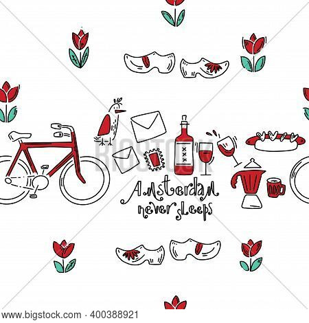 Dutch Wine Festival Pattern. Hand Drawn Pattern In Doodle Style. Vector Image, Clipart, Editable Det