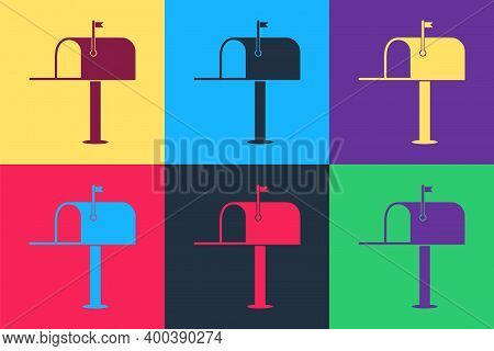 Pop Art Open Mail Box Icon Isolated On Color Background. Mailbox Icon. Mail Postbox On Pole With Fla