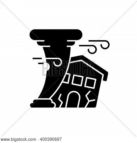 Hurricane Black Glyph Icon. Destroying Residential Structures. Catastrophic Property Damage. Outdoor
