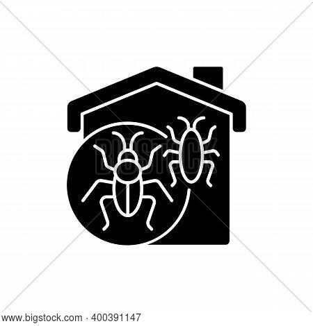 Insect Invasion Black Glyph Icon. Bugs Indoors. Cockroaches, Beetles, Crickets, Fleas. Bed Bug Infes