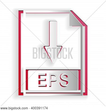 Paper Cut Eps File Document Icon. Download Eps Button Icon Isolated On White Background. Paper Art S
