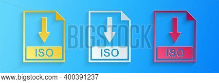 Paper Cut Iso File Document Icon. Download Iso Button Icon Isolated On Blue Background. Paper Art St