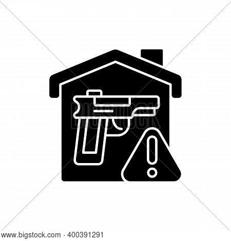 Weapons Storage Black Glyph Icon. Home Defense. Safe Gun Storage. Preventing Unauthorized Access To