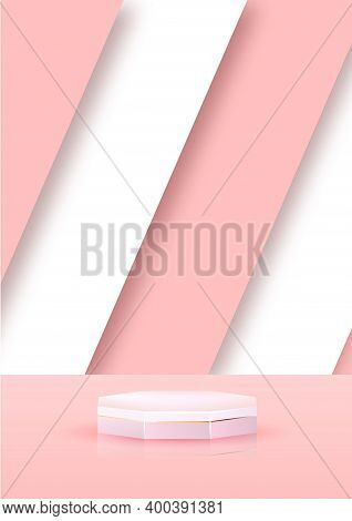 3d Pink Abstract Geometric Pedestal Background Vector. Bright Pastel Podium Or Pedestal Backdrop Min