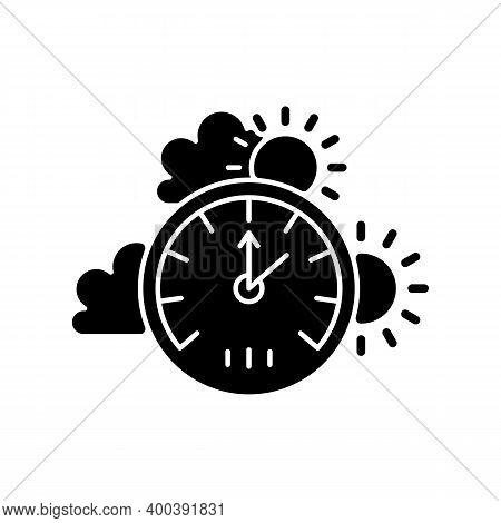 Barometer Black Glyph Icon. Measuring Air Pressure In Certain Environment. Scientific Tool. Meteorol