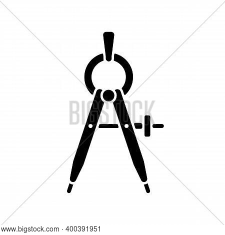Compass Black Glyph Icon. Drawing Tool. Circle Maker. Measuring Distances. Mathematics, Drafting, Na
