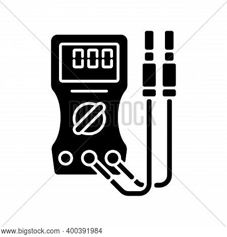 Ammeter Black Glyph Icon. Voltmeter, Ohmmeter. Measuring Direct And Alternating Electric Current. Ci