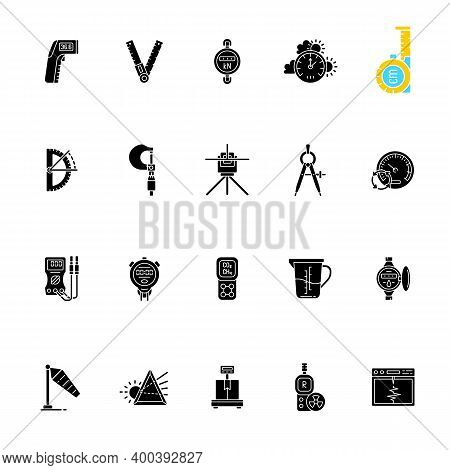 Measurement Elements Black Glyph Icons Set On White Space. Measuring Physical Quantity. Infrared The