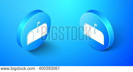 Isometric Mail Box Icon Isolated On Blue Background. Mailbox Icon. Mail Postbox On Pole With Flag. B