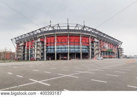 Enschede, Netherlands - April, 01, 2017: Soccer Stadium Of Football Club Fc Twente In Enschede, Over