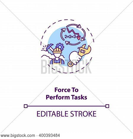 Force To Perform Tasks Concept Icon. Ergonomic Stressor Idea Thin Line Illustration. Reducing Worker