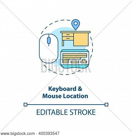 Keyboard And Mouse Location Concept Icon. Office Ergonomics Tip Idea Thin Line Illustration. Comfort