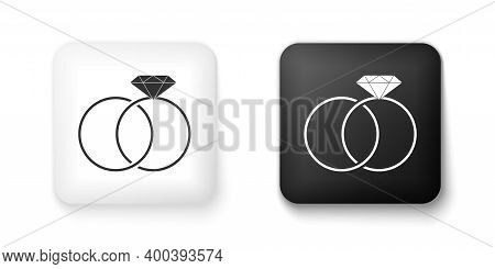 Black And White Wedding Rings Icon Isolated On White Background. Bride And Groom Jewelery Sign. Marr