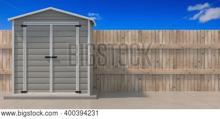 Gardening Tools Storage Shed In The House Backyard. 3D Illustration
