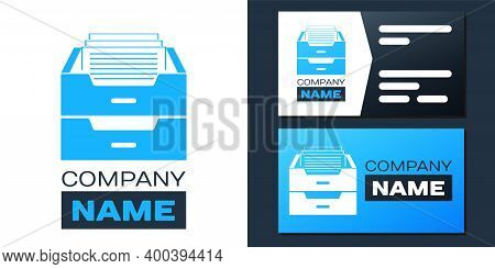 Logotype Drawer With Documents Icon Isolated On White Background. Archive Papers Drawer. File Cabine