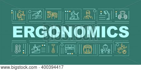 Ergonomics Word Concepts Banner. Health Protection Body Treatment Product Creation. Infographics Wit