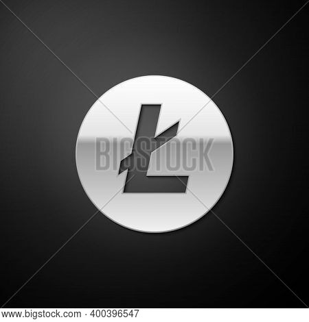 Silver Cryptocurrency Coin Litecoin Ltc Icon Isolated On Black Background. Digital Currency. Altcoin