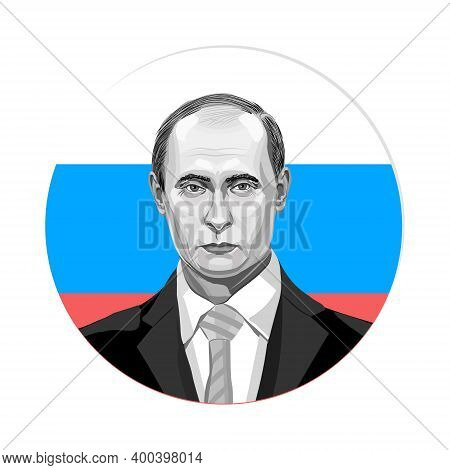 Russia, Moscow. September 20, 2018 Russian President Vladimir Putin In Front Of The Russian Flag. Ve