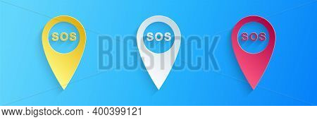 Paper Cut Marker Location With Sos Icon Isolated On Blue Background. Sos Call Location Marker. Map P