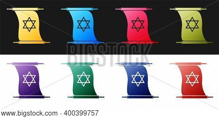 Set Torah Scroll Icon Isolated On Black And White Background. Jewish Torah In Expanded Form. Torah B