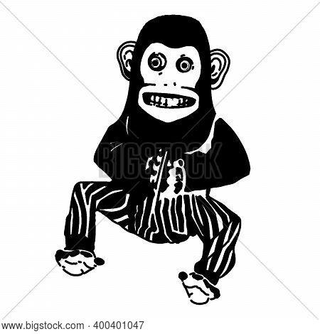 Vintage Creepy Monkey Toy Stencil Nostalgic Creepy Retro Items