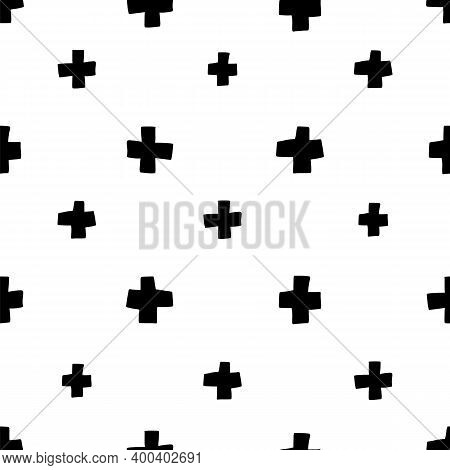 Scandinavian Plus Seamless Pattern. Vector Black And White Monochrome Scandi Print. Child Trendy Bac