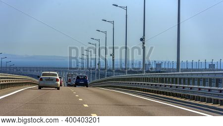 The Navigable Arch Of The Crimean Bridge. Arch Of The Highway And Railway Section Of The Crimean Bri