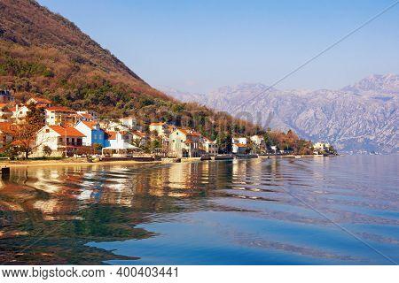 Beautiful Winter Mediterranean Landscape.  Montenegro, Adriatic Sea.. View Of  Bay Of Kotor Near Vil