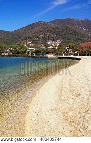 Sunny  Winter Mediterranean Landscape -  Sky, Sea And Deserted Beach.  Montenegro, Adriatic Sea, Vie