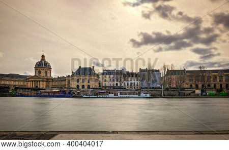 Paris, France, Feb 2020, View Of The Left Bank By The Academie Francaise