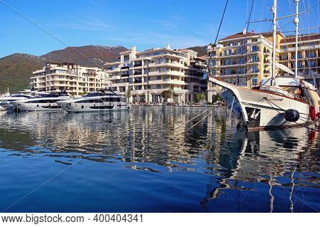 Tivat, Montenegro - December 13 2020:  View Of Porto Montenegro In Tivat City - Full Service Yacht M