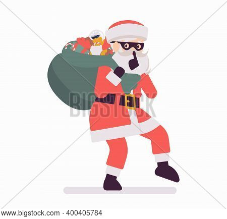 Secret Santa Claus Making Hush Gesture, Moving Slowly With Sack. Anonymous Father Christmas Bringing