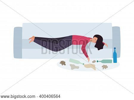 Drunk Woman With Alcohol Addiction Lies On Couch, Vector Illustration Isolated.