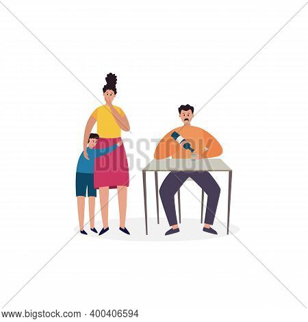 Unhappy Family With Man With Bad Habits, Alcohol Addiction A Vector Illustration