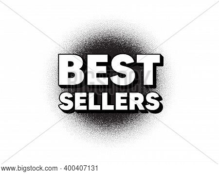 Best Sellers. Dotwork Stain Pattern. Stipple Dots Banner. Special Offer Price Sign. Advertising Disc