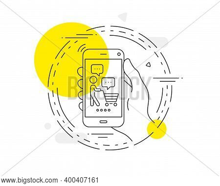 Buyer With Shopping Cart Line Icon. Mobile Phone Vector Button. Customer Think Bubble Sign. Supermar