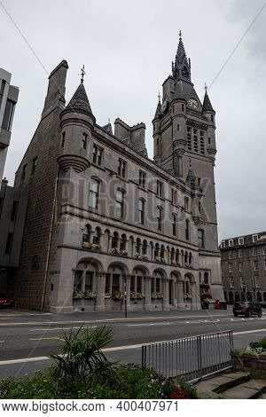 Aberdeen, Scotland - August 11, 2019: Aberdeen Town House At Broad Street In Scotland, Uk
