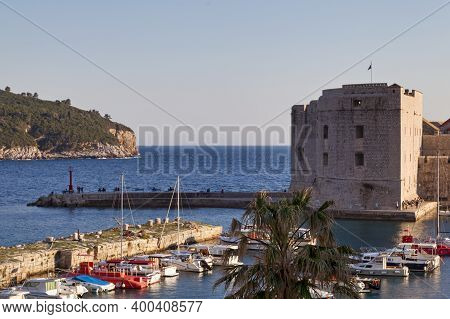 Dubrovnik, Croatia - April 19 2019: The Fort St. Ivana Is A 16th Century Fort At The End Of The Old
